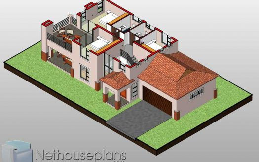 3D floor plans 3 bedroom house plans 3D home designs Nethouseplans