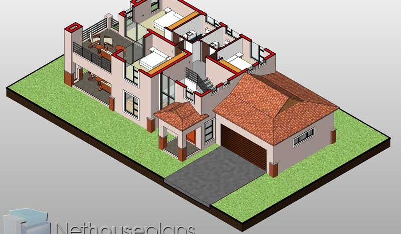 3D floor plans 3 bedroom house plans 3D home designs Nethouseplans