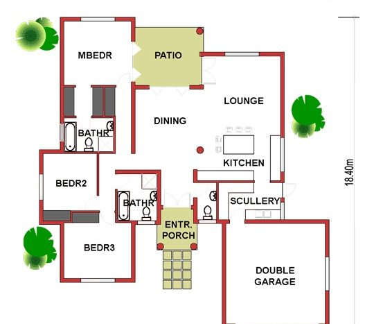 simple house plans, single story house plans, one story house plans, floor plans designs, 3 bedroom house plans, Nethouseplans