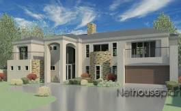 Architecture home design that is Modern tuscan style house plan with 3 bedrooms, double storey floor plans by Nethouseplans