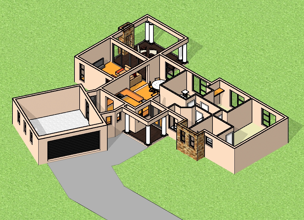 T207 3D View 1 GF cut out - 43+ Modern 3 Bedroom House Plans With Double Garage Pictures