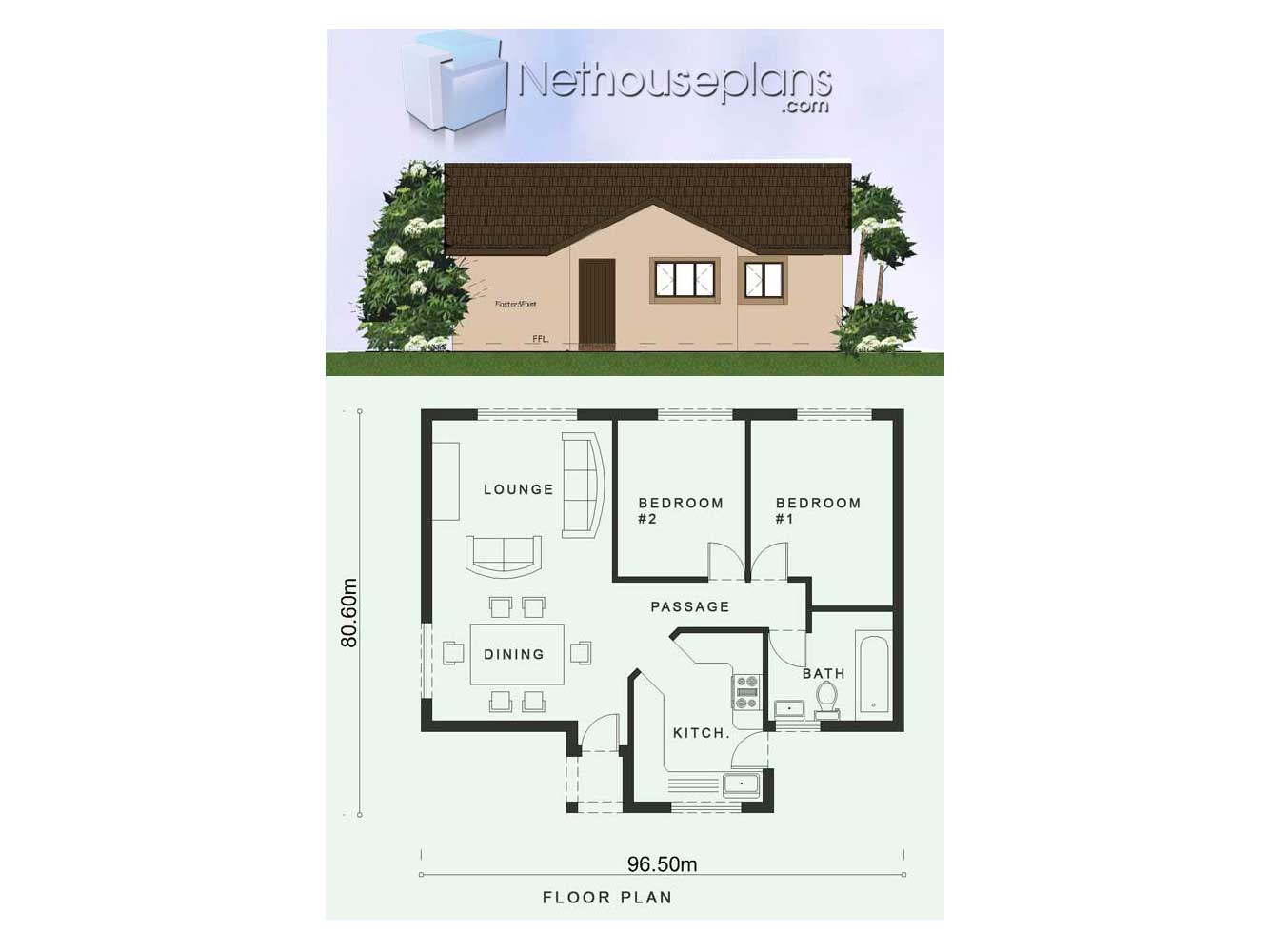 2 Room House Plans Low Cost 2 Bedroom House Plan Nethouseplansnethouseplans
