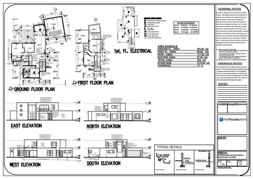 house plans flat roof, 4 bedroom modern house plans, 4 rooms house plans, Nethouseplans
